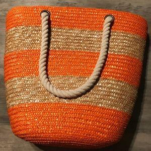 Handbags - Orange and Natural Straw Bag w/ rope handles
